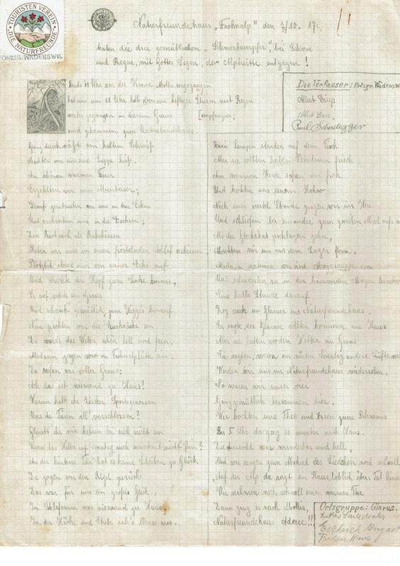 Auszug aus dem Gästebuch 1917