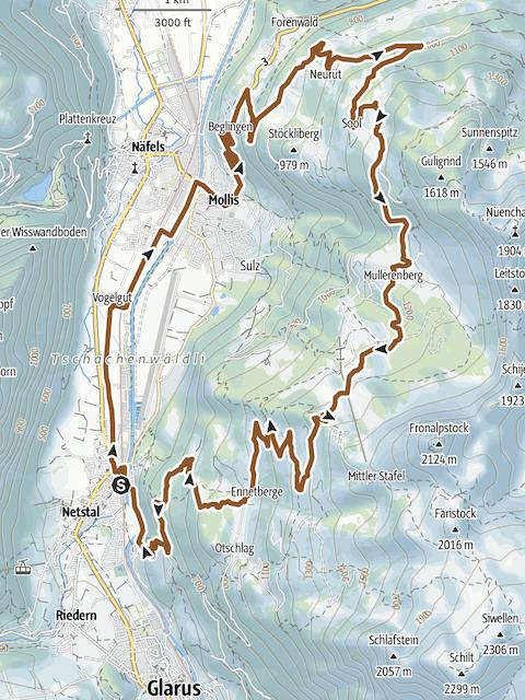 Mountainbike-Tour SCHABZIGER® Höhenweg, Details und Bildquelle GPS-Tracks.com