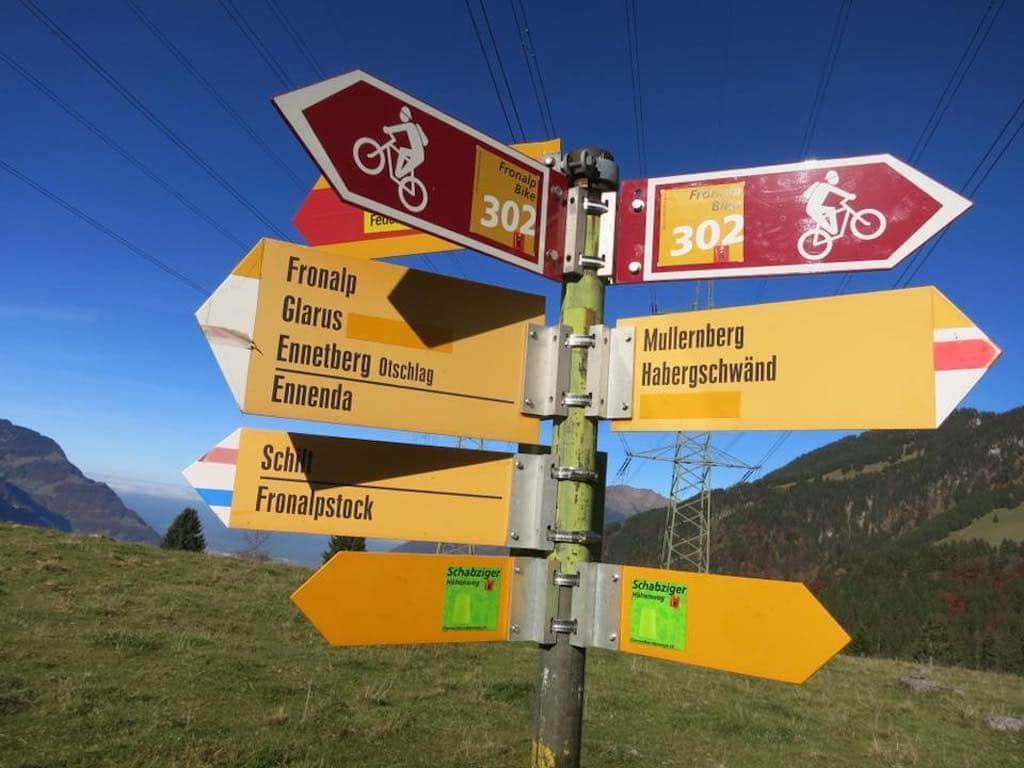 Wander- und Bike-Wegweiser Fronalp, Mullern, Ennetberge, Schilt, Glarus
