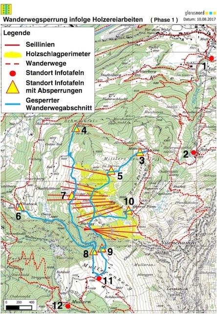 Sperrungen Wanderwege Mullern Mollis – Habergschwänd Filzbach