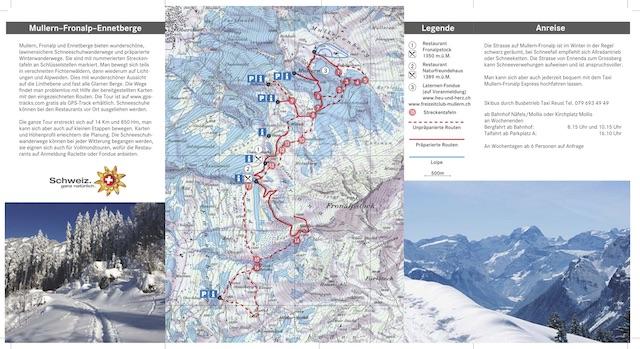 Flyer Schneeschuh- und Winterwanderwege Mullern-Fronalp-Ennetberge - Karte