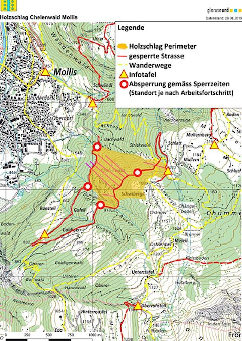 Holzschlag Mollis - Sperrung Mullernstrasse 2019