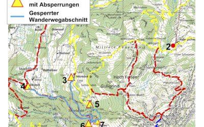 Sperrung Wanderwege Mullern 2019
